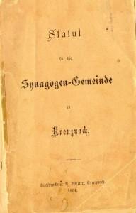 Synagogen-Statut der Jüdischen Gemeinde von Bad Kreuznach von 1894